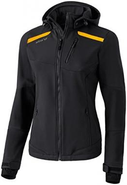 Erima Basic Softshelljacke Damen, schwarz mit gelben Streifen