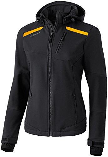 Erima Basic Softshelljacke Damen, schwarz mit gelben Streifen -