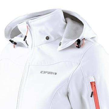 ICEPEAK Viira Softshelljacke Damen weiß, Taschen Reißverschlüsse orange -