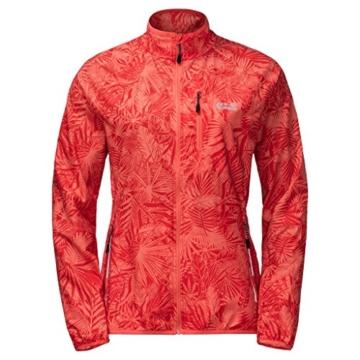 Jack Wolfskin Flyweight Jungle Softshelljacke Damen Rot mit Blätter-Muster -